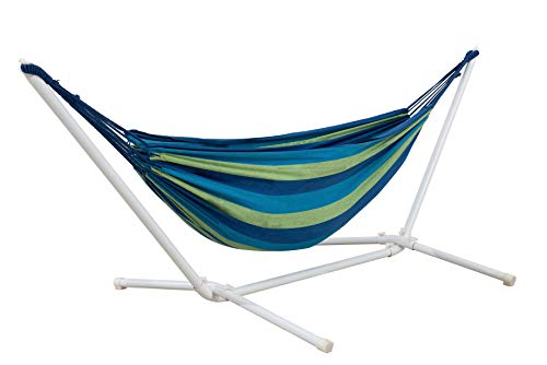 AmazonBasics Polycotton Double Hammock with White Easy Assembly Powder-Coated Steel Stand - Blue and Green Stripe