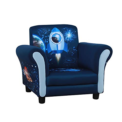 HOMCOM Kindersessel, Kindersofa,Kinderzimmer Sofa, Mini-Sofa-Sessel mit Holzstruktur und Kunststoff rutschfeste Füße, Polyester, Blau, 59,5 x 43 x 46,5 cm