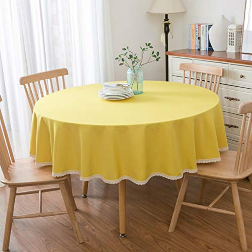 YOUYUANF tablecloth wipe clean round Simple tablecloths, round tablecloths, buffet table dustproof cotton and linen tablecloths, parties, festive dinners200cm