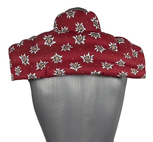 Cuscino termico con noccioli di ciliegia, per spalle e collo con colletto, per microonde (fiori di ciliegia)