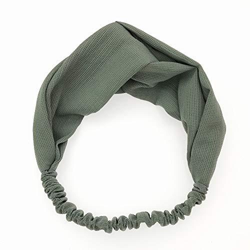KAEHA FD-0001-03 Nudo sjaal, gekruist, rekbaar, voor dames en meisjes, haarband, eenkleurig, groen