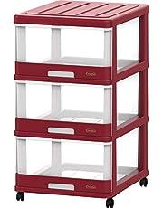 خزانة تخزين أدراج بثلاث عجلات IFHHST378R2 من كوزموبلاست، أحمر داكن، عرض 40 × ارتفاع 70 × عمق 50 سم، بلاستيك