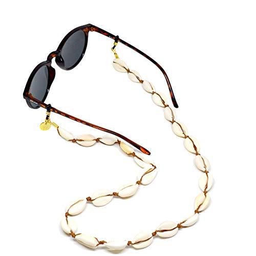 HOOK Cordón Cuelga Gafas Para Mujer - Cordón Para Gafas de Sol o De Ver - Cordón de Conchas Blancas Naturales - 60 cm de largo 1 cm de ancho - Gomas de Alta Calidad Universales - Shell 3081
