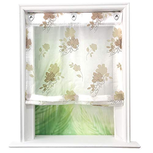 Store Romain Impression Fleurs Colorés avec Crochets Store Bateau Décoration de Fenêtre 1 Pièce (LxH 100x140cm, Sable)