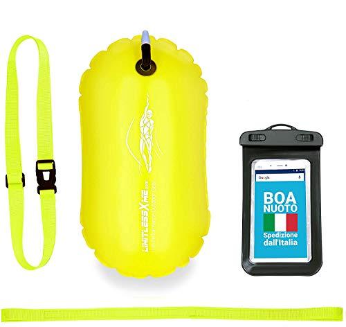 LimitlessXme Boa Gonfiabile per Giallo e Custodia per Il Cellulare – Sicurezza Durante Il Nuoto, in acque libere e per Il Triathlon. Boa Galleggiante, Swim Buoy Bubble