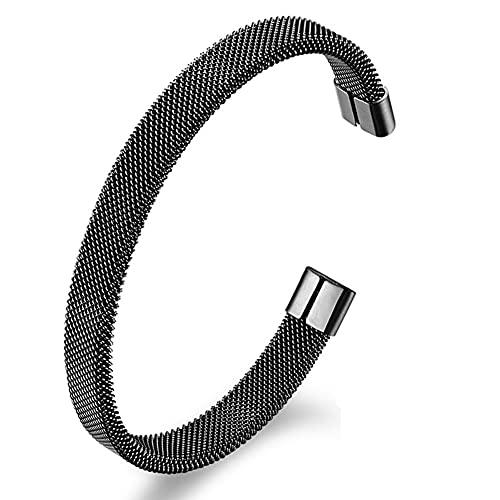Brazalete De Acero Inoxidable Brazalete Negro/Dorado/Plateado Pulido para Hombres Y Niños con Diseño De Línea Torcida Simple,Negro