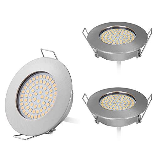 HCFEI 3er Set Flaches Design Mini LED Einbaustrahler 230V nur 25mm Einbautiefe Flach Deckenstrahler, 400 Lumen, 3.5W, Edelstahl Gebürstet, 58-65mm Lochausschnitt (Warmweiß 3000K)