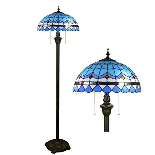 Vloerlamp 16 inch Tiffany met sokkel van bronskleurig kunsthars, vloerlamp van mediterrane glas, voor woonkamer, slaapkamer, eetkamer, E27, max. 40 W x 2