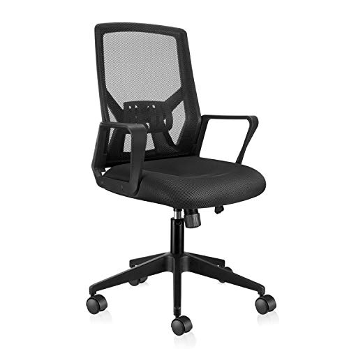 East Oak Folding Ergonomic Home Office Desk Chair, 250lb, Black