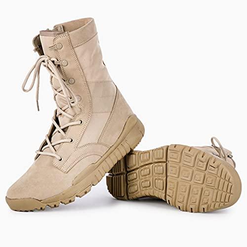 YUHAI Botas tácticas livianas para Hombres, Botas de Combate al Aire Libre de Verano, Zapatos de Desierto Transpirables Resistentes al Desgaste,Sand -40(UK 7.5)