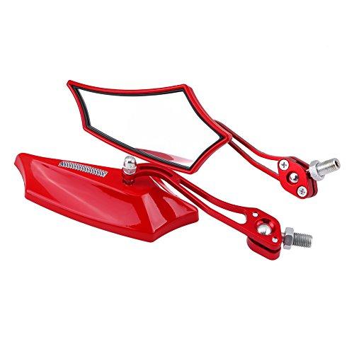 Qiilu 1 Paar van 10mm 8mm Universele Motorfiets Scooter Aluminium Zijkant Achteraanzicht Spiegels 4 Kleuren default Rojo