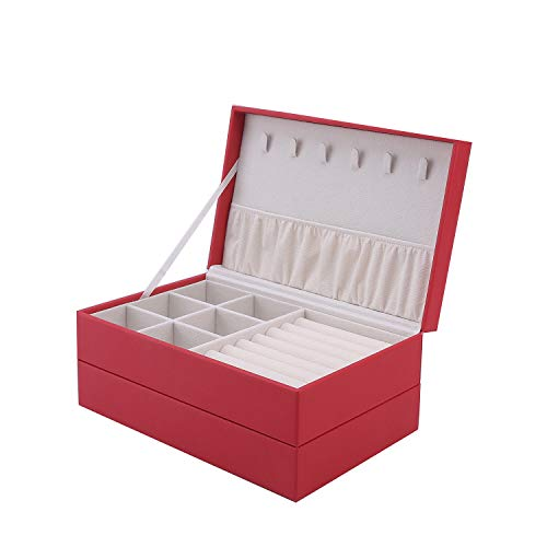 IVZISO Jewelry Box-Ladies,Two-Layer PU Leather Display Storage Box Accessory Rack Two-Layer Tray Jewelry Storage Box Suitable for Earrings Lipstick Sunglasses Necklaces BraceletsRed