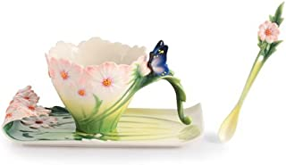 Franz Porcelain Cosmos of Color - Cosmos and Butterfly cup/saucer/spoon set Franz Fine Porcelain