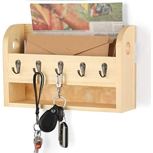 organizador de cartas y llaves, Portallaves de pared ,con 5 ganchos para llaves, para entrada del hogar y oficina, Organizador de cartas para recibidor, cocina