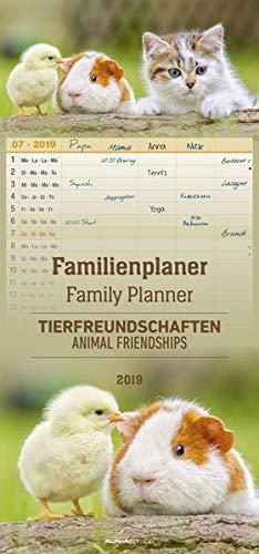 Familienplaner Tierfreundschaften 2019 - Familientermine / Familientimer (21 x 45) - 5 Spalten - Wandplaner