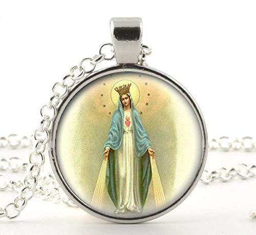 Nuestra Señora de la Milagrosa Medalla Collar Colgante Virgen María Joyería Charm Joyería de Cristal Foto Joyería