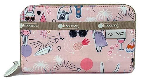LeSportsac Fifi Lapin xxx, Fifi Pool Party Lily Geldbörse, Stil 6506/Farbe G621, Bunny Rabbit Zipper Pull & Pink Zipper