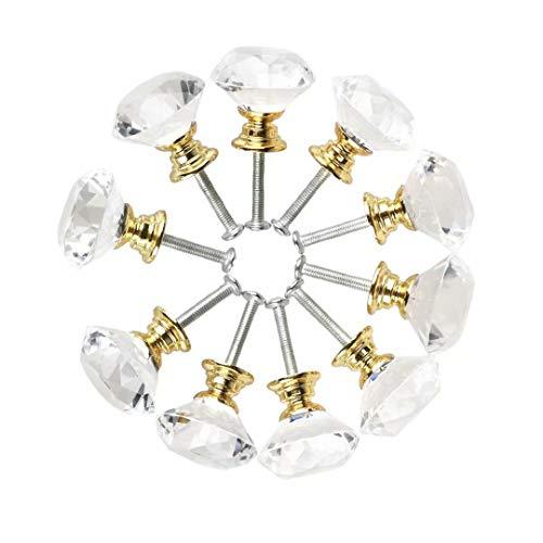 Frolahouse - Pomelli per cassetti in vetro con cristallo da 30 mm, per armadio, per casa, cucina, armadio, con base dorata in lega di zinco, 10 pezzi