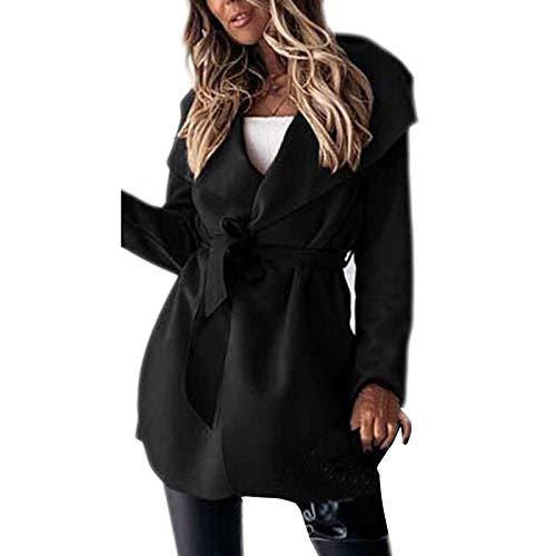 Mujeres abrigo chaqueta cinturón manga larga parka chaqueta lana caliente solapa abrigo Trim chaqueta oficina traje Outwear