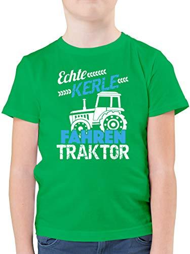 Fahrzeuge Kind - Echte Kerle Fahren Traktor - 164 (14/15 Jahre) - Grün - F130K - Kinder Tshirts und T-Shirt für Jungen