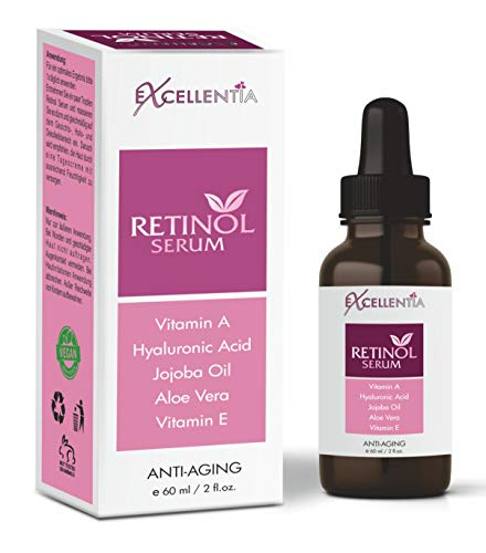 Excellentia Retinol Serum 60 ml - Vitamin E, Hyaluronsäure, Jojobaöl, Aloe Vera, Grüner Tee |...