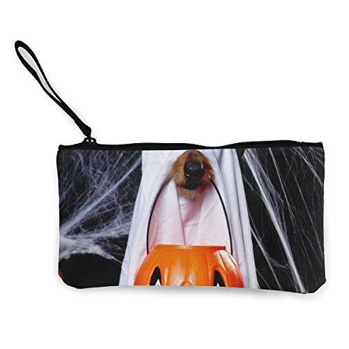 N/C Halloween Hund Geisterlaterne Spinnennetze Münzgeldbörse Make-up-Tasche mit Reißverschluss Handschlaufe Reise-Kosmetiktasche für Frauen Mädchen personalisiert