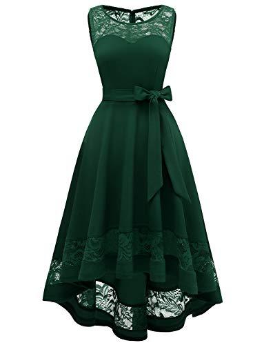 Damen Spitzenkleid Brautjungfer Elegant Party Knielang Cocktailkleid Ärmellos Vokuhila Grün Kleid aus Spitze Dark Green XS