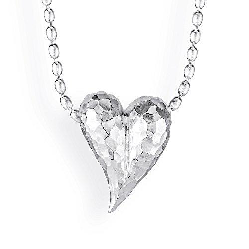 Drachenfels Mittlerer Herz Anhänger in Echtsilber   Kollektion Heartbreaker   Eleganter Design Anhänger für Damen in Herzform   D HE 33/AG