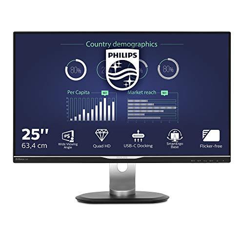 Philips 258B6QUEB - 25 Zoll QHD USB-C Docking Monitor, höhenverstellbar (2560x1440, 60 Hz, VGA, DVI, HDMI, DisplayPort, USB-C, RJ45, USB Hub) schwarz