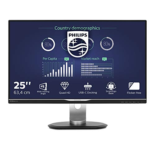 Philips 258B6QUEB/00 25 cm (25 Zoll) Monitor (VGA, DVI, HDMI, Displayport, IPS Panel, 3x USB 3.0, 2560 x 1440, höhenverstellbar,...