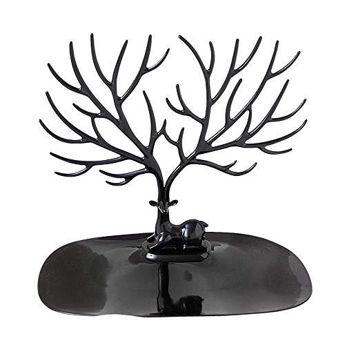 Jiagu - Soporte de joyería para árbol de exhibición para collares, pulseras y pendientes con bandeja para anillos (color: negro, tamaño: 20 x 15 x 22 cm)