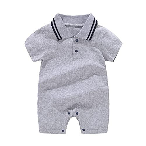 FURONGWANG6777BB Newborn Baby Boy One Piece Momper Gentleman Trajes de Manga Corta Mono Collar Portés Pantalones Cortos General Ropa de Verano (Color : Gray, Size : 80CM)