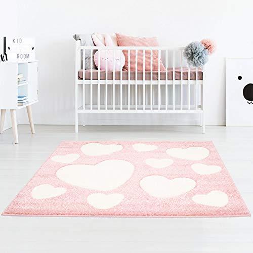 Taracarpet Kinderzimmerteppich für Mädchen süße Herzen Rosa Creme 150x150 cm