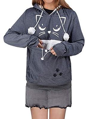 besbomig Unisex Pet Holder Hoodie Sweatshirt - Big Pouch Cat Dog Carriers Pullover Long Sleeve Shirt Kitten Puppy Pocket Hooded Shirt Tops Blouse Winter Autumn Dark Grey