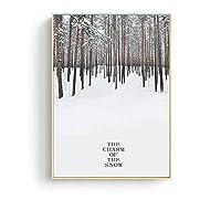 キャンバスプリントウォールアート画像冬の風景キャンバス絵画山の森の建物ウォールアートポスターとプリントモダンな装飾画像リビングルームの装飾-D_30X40Cm_No_Frame