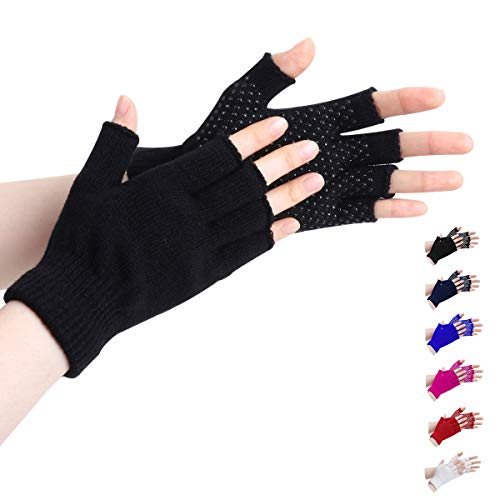 LADES DIRERCT Damen Fingerlose Handschuhe - Winter Handschuhe Fingerlos Warm Gestrickte Rutschfest Fäustlinge Handschuhe Ohne Fingerspitzen Kurze Fingerhandschuhe Outdoor (SchwarzA1)