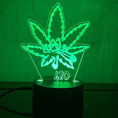 Lámpara de luz nocturna 3D, regalo de hoja de marihuana, con 16 cambios de color y control remoto, regalos para niños a partir de 3 4 5 6 años