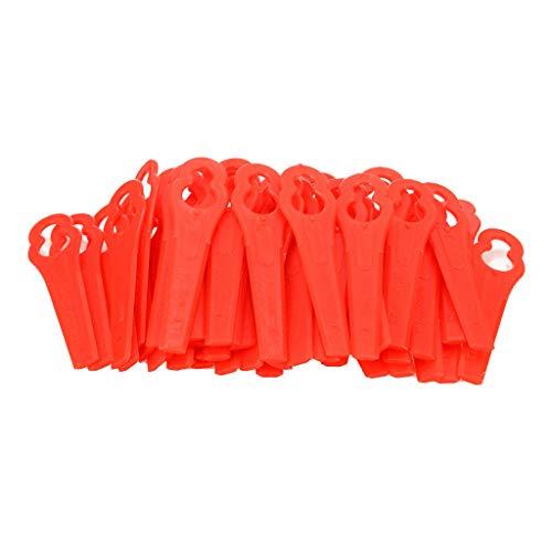OVERMAL Ersatzmesser-Set Rasentrimmer-Zubehör, Kunststoffmesser für Akkutrimmer, Kunststoff-Messer, Rasenmäher Kunststoff Schneidmesser, Rasentrimmer für Stihl Poly Cut 2-2 Rasenmäher (50PCS, Rot)