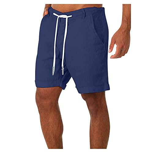 Winging Pantalones De Playa Con Estampado De Verano Para Hombre, Pantalones Cortos De Cinco Puntos Casual Fitness Culturismo Algodón Lino Bolsillos De Playa De Talla Grande