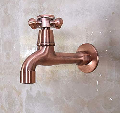 Außenwaschmaschine Wasserhahn antik rot Kupfer Kreuzgriff Gartenmöbel Kaltwasser Schwimmbad/Mopp