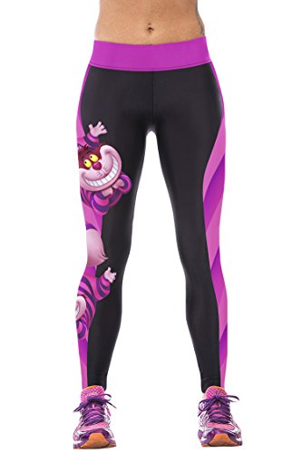 LOV ANNY Womens 3D Cheshire Cat Printed Workout Training Leggings Tights