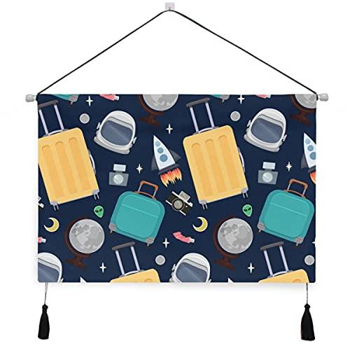 PATINISA Canvas Hanging Poster,Seamless Pattern Viaggiatori Valigie Astronauti Casco Decorativo Scroll Wall Hanging Appendini per arazzi per la casa Soggiorno Camera da letto Hotel Dorm Office Decor