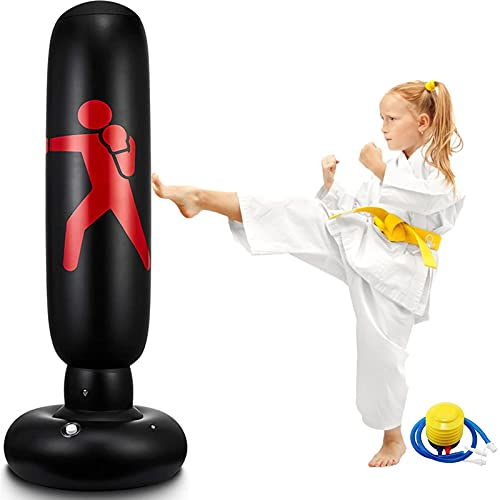Inflatable Kids Punching Bag 62 Inch Free Standing Boxing Bag for Immediate Bounce-Back Punch Bags for Practicing Karate Taekwondo MMA by EQARD (Black)