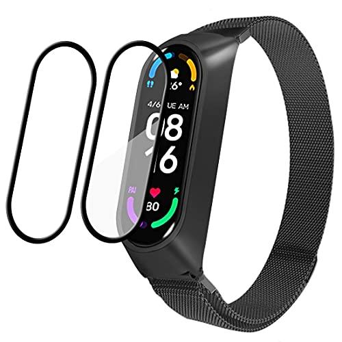 Leelbox Correa para Xiaomi Mi Band 6 / Xiaomi Mi Band 5 / Amazfit Band 5, Pulsera Metal Correas Imán de Actividad Reloj Wristband Recambio Bandas de Acero Inoxidable magnético Strap (Negro)