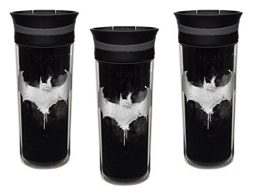 Zak Designs Thermobecher mit Batman-Symbol, 454 ml, auslaufsicher, mit Schiebedeckel, BPA-frei, 3 Stück