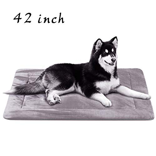 JoicyCo Dog Beds Crate Pad Mat 42' Washable Pet Bed Cat Beds Soft Dog Mattress Anti-Slip Kennel Pads,Grey L