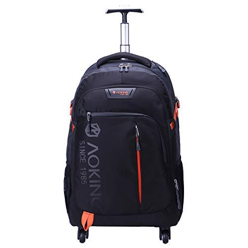 AOKING Mochila de viaje con ruedas resistente al agua de 20/22 pulgadas, para escuela, negocios, con compartimento para portátil negro 22 Inch