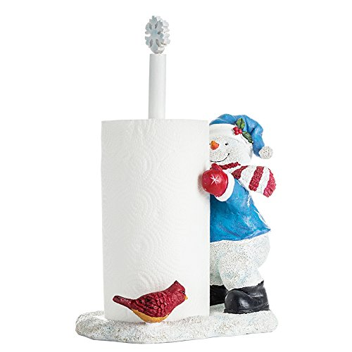 Cartoon Snowman in Winterland Free Standing Christmas Paper Towel Holders