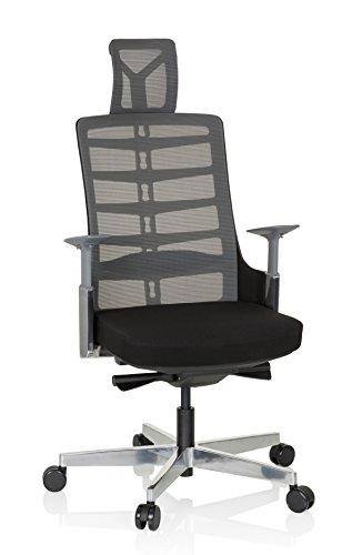 hjh OFFICE 640400 Profi Bürostuhl SKARIF Stoff Schwarz/Grau ergonomischer Drehstuhl mit Flexibler Rückenlehne