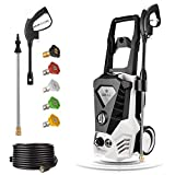 casulo Electric Pressure Washer Max 3500PSI 2.6GPM, 1800W High Pressure Power Washer Machine w/Rolling Wheels, 5 Nozzles, Spray Gun & 32 ft Cable for Car Driveway Fence Patio Deck Cleaning
